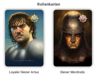 Rollenkarten: Blau = Gut, Rot = Böse