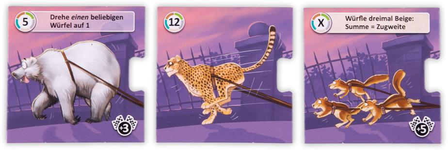 Das abgebildete Tier verrät die positiven bzw. negativen Eigenschaften der Karte.