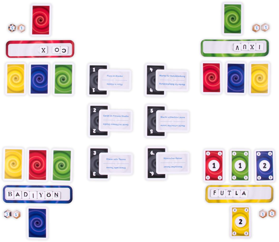 """Die Spielfläche: nur der blaue Spieler hat Futla als """"Gerät im Fitness-Studio"""" identifiziert."""
